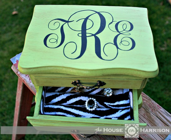 House on Harrison Jewelry Box Relined and Monogrammed