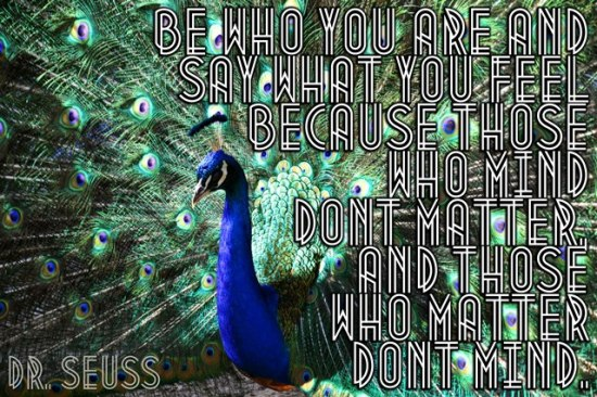 Peacock True Colors Hard to Read Quote